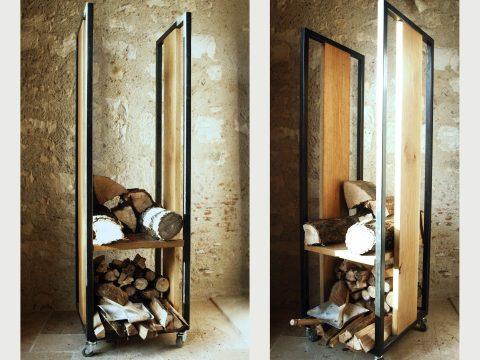 Rangement à bois industriel acier et chêne