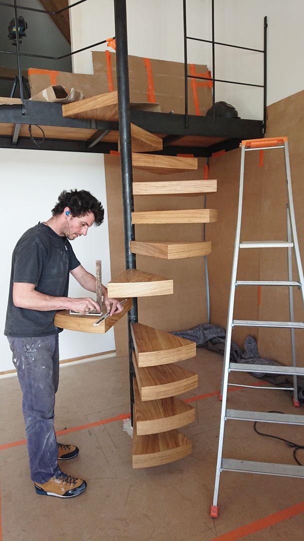 Mise en place de l'escalier en colimaçon